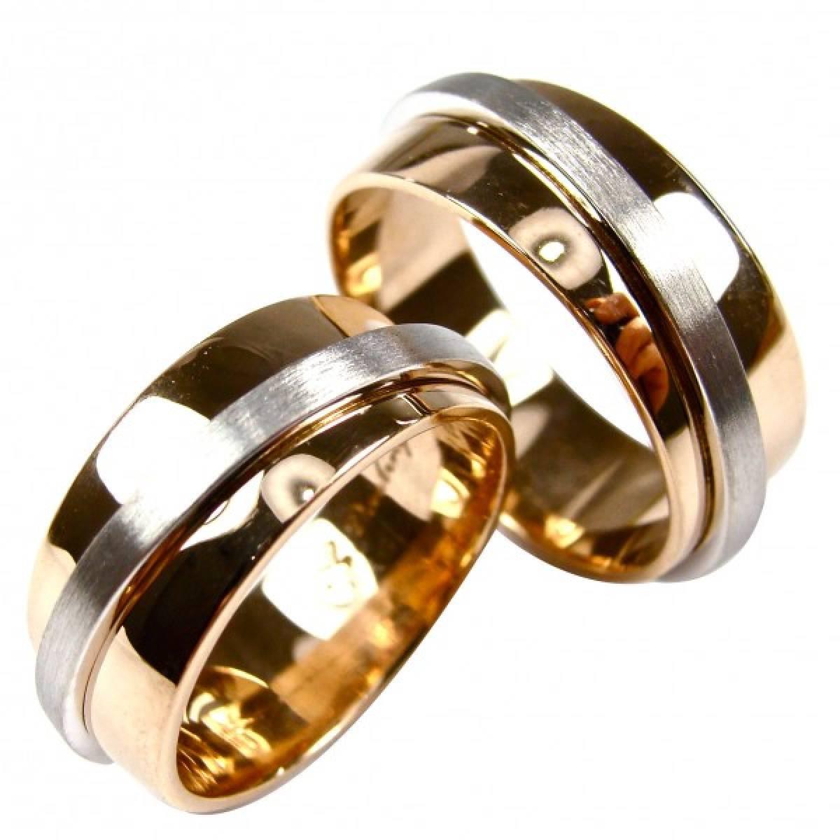 Alianças de Casamento em ouro bicolor de 9 e 19,2 kts, Largura: 7,5 mm