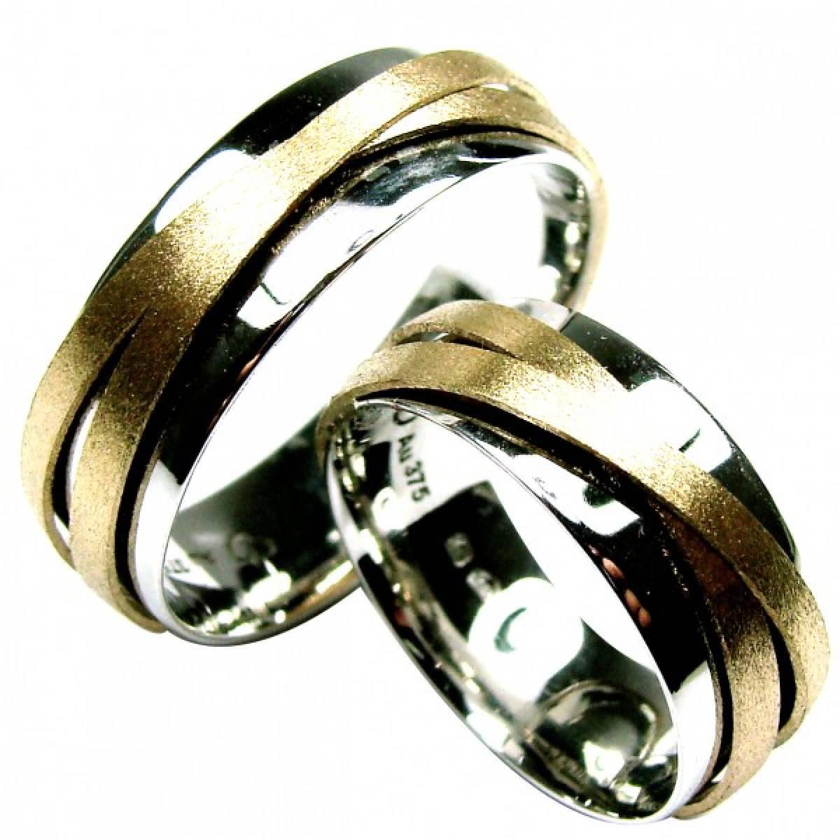 Alianças de Casamento Pesarum, em Ouro Bicolor de 9 e 19Kts