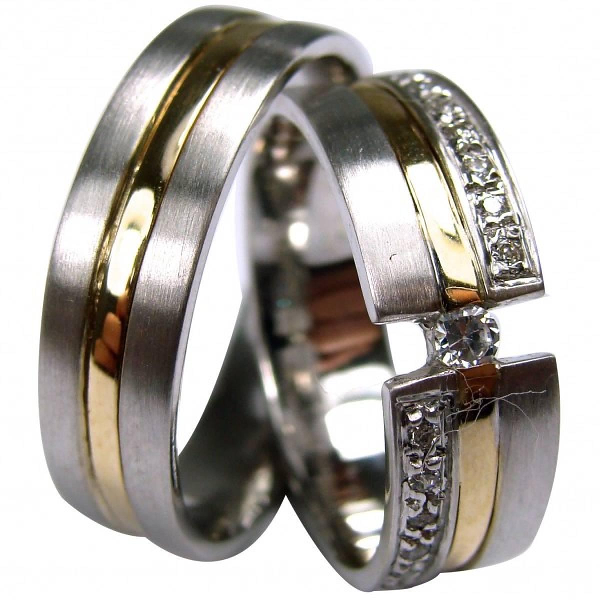 Alianças de Casamento Ouro Bicolor com 15 Diamantes de 0,20 CTS