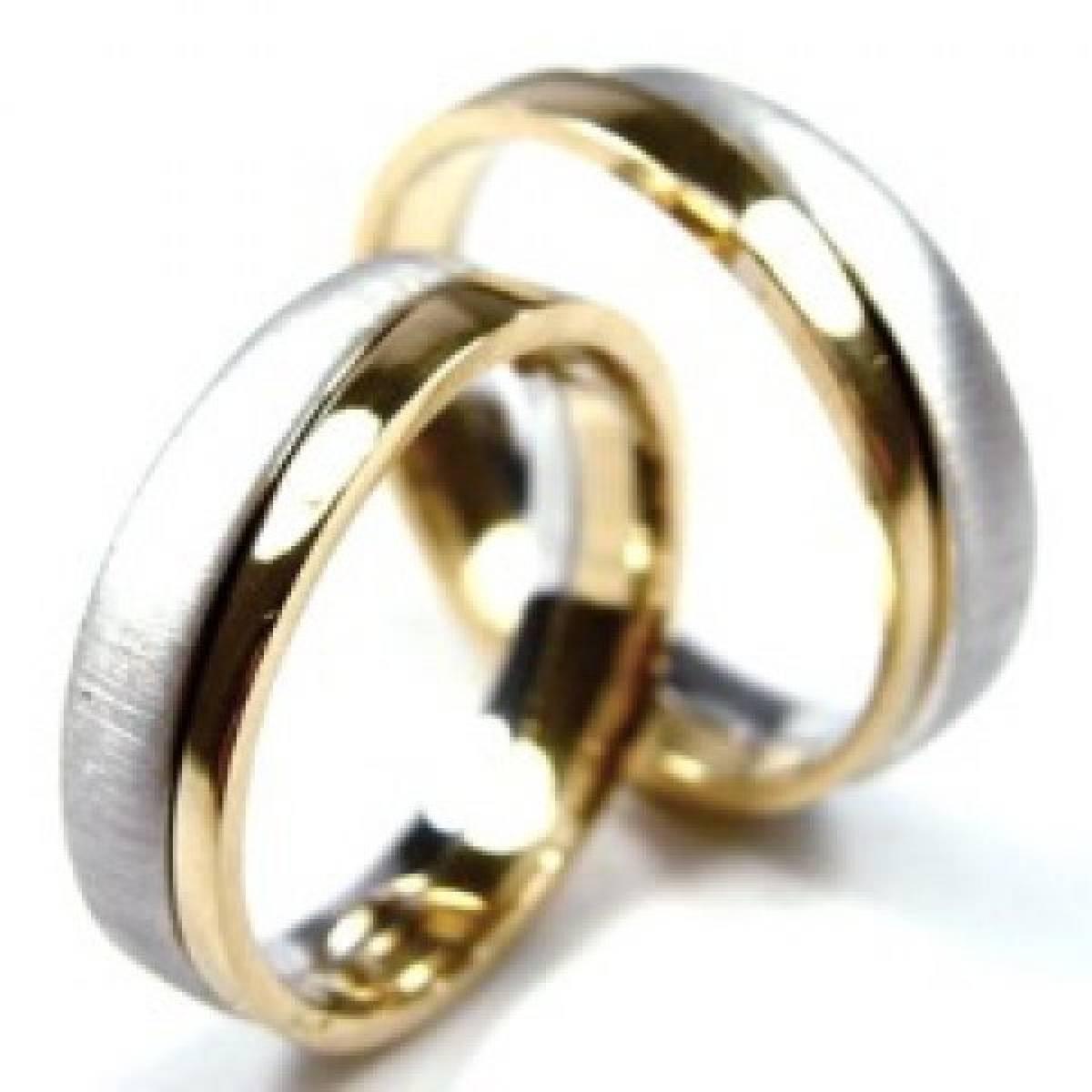 Alianças de Casamento em Ouro rosa e branco de 9 e 19 kts