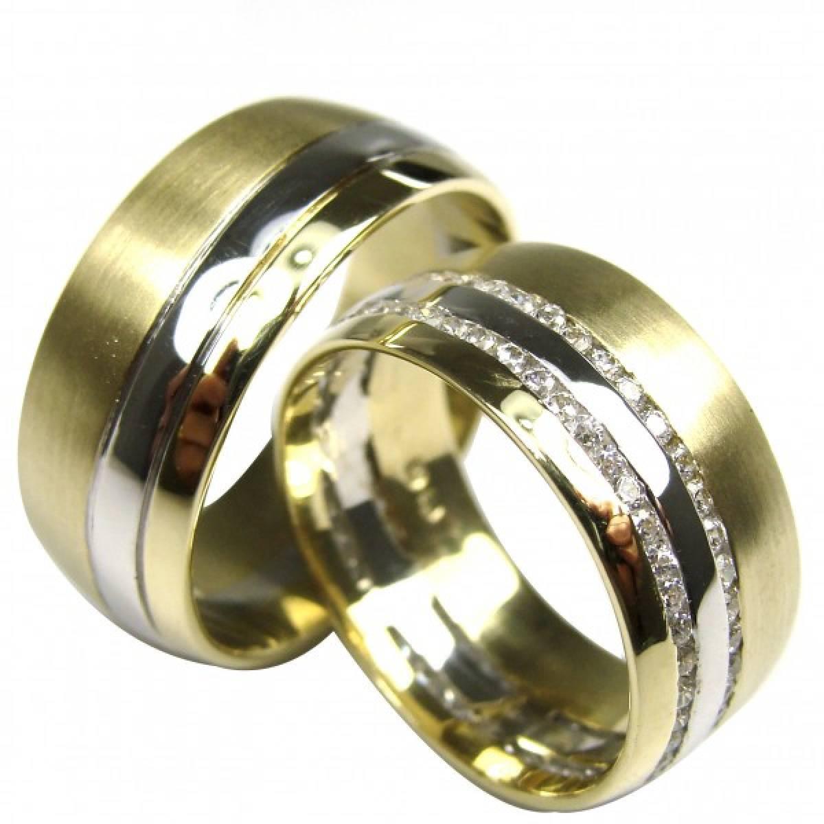 Alianças de Casamento Ouro Bicolor com 106 Diamantes de 1,06 CTS