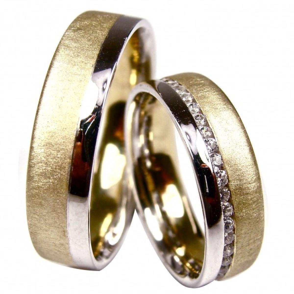 Alianças de Casamento Ouro Bicolor com 42 Diamantes de 0,58 CTS