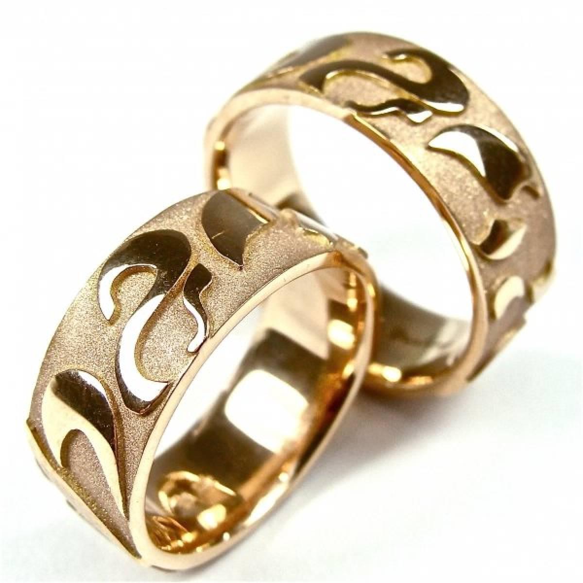 Alianças de Casamento areadas e polidas em ouro Rosa de 9 e 19 kts