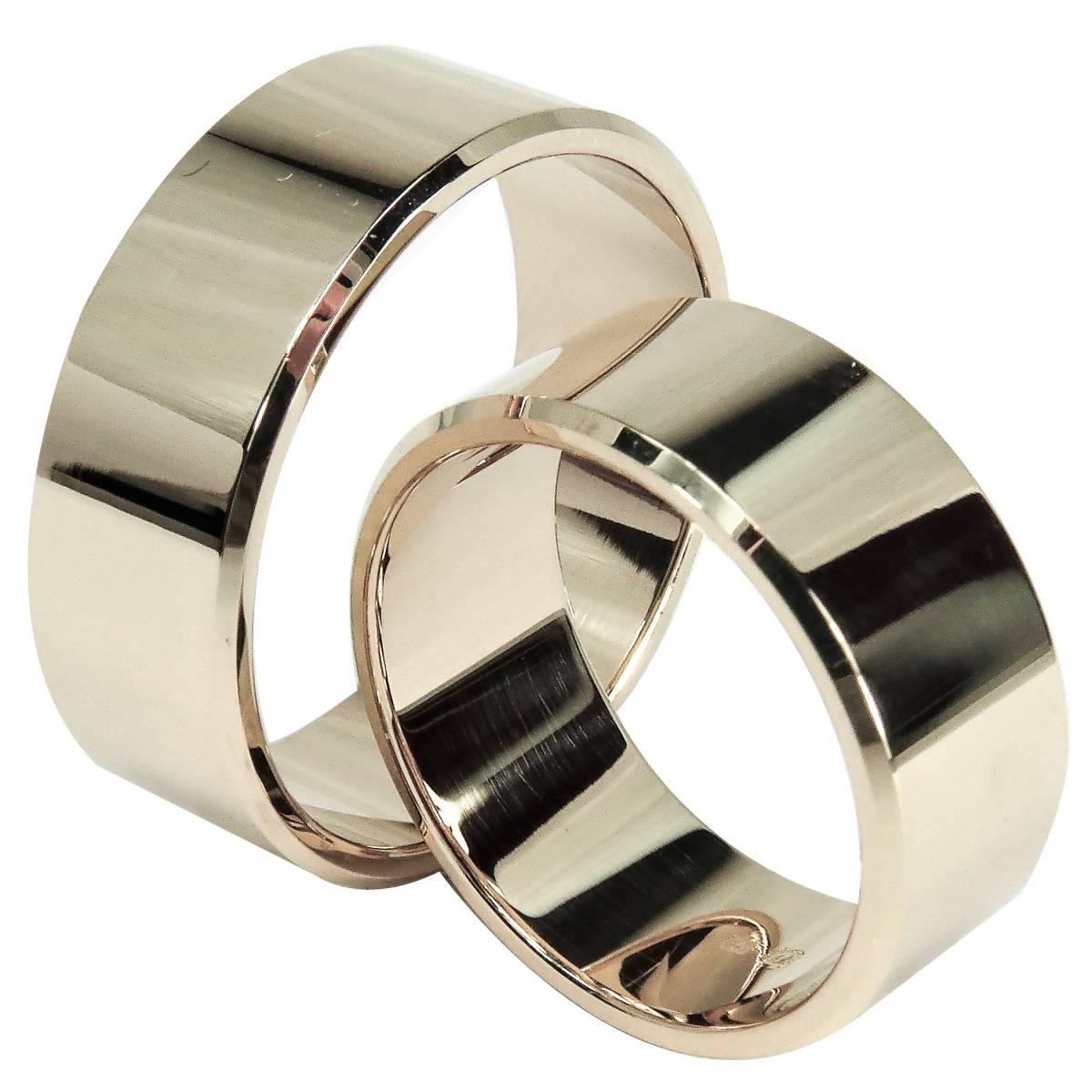 Alianças de Casamento Planas, Polidas em Ouro Amarelo