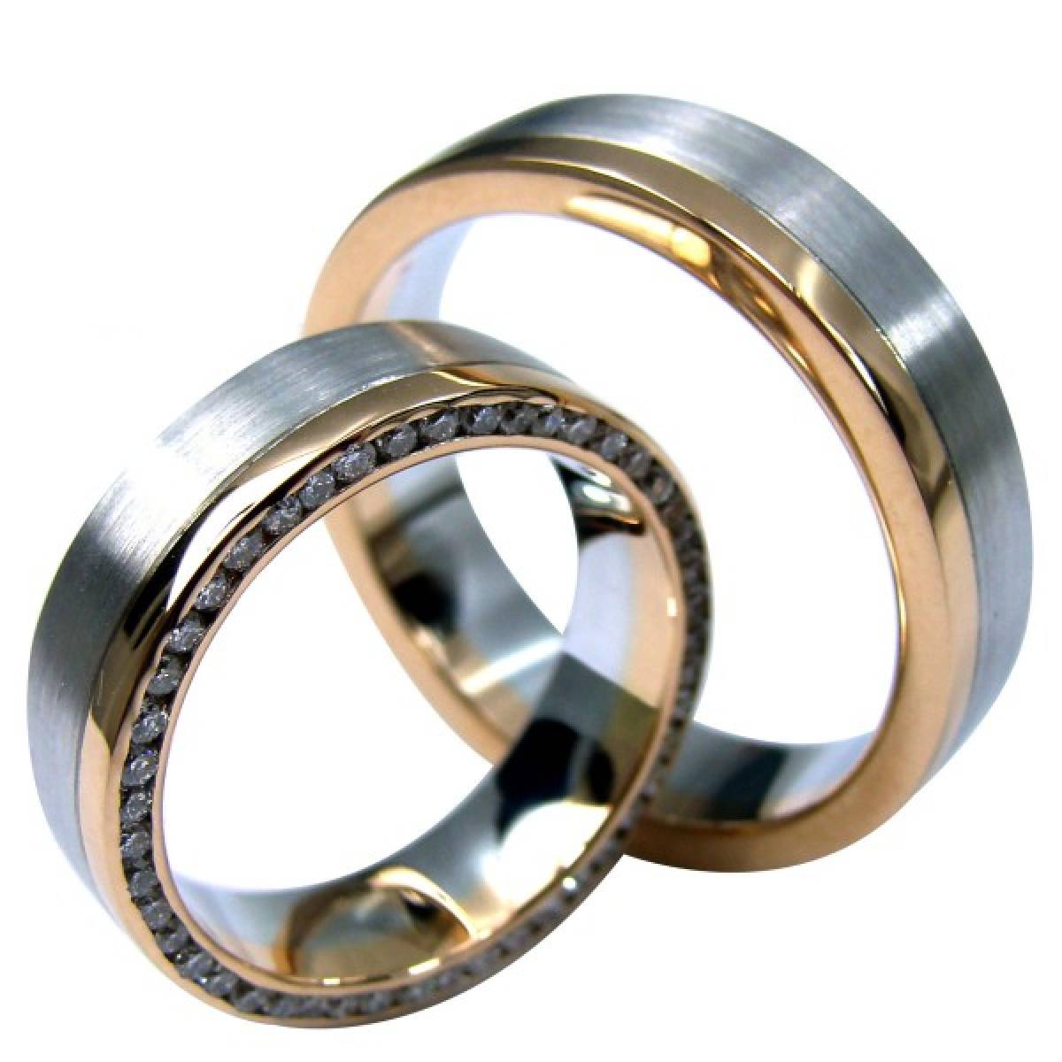 Alianças de Casamento em Ouro Bicolor, de 9 e 19 kts c/ Diamantes