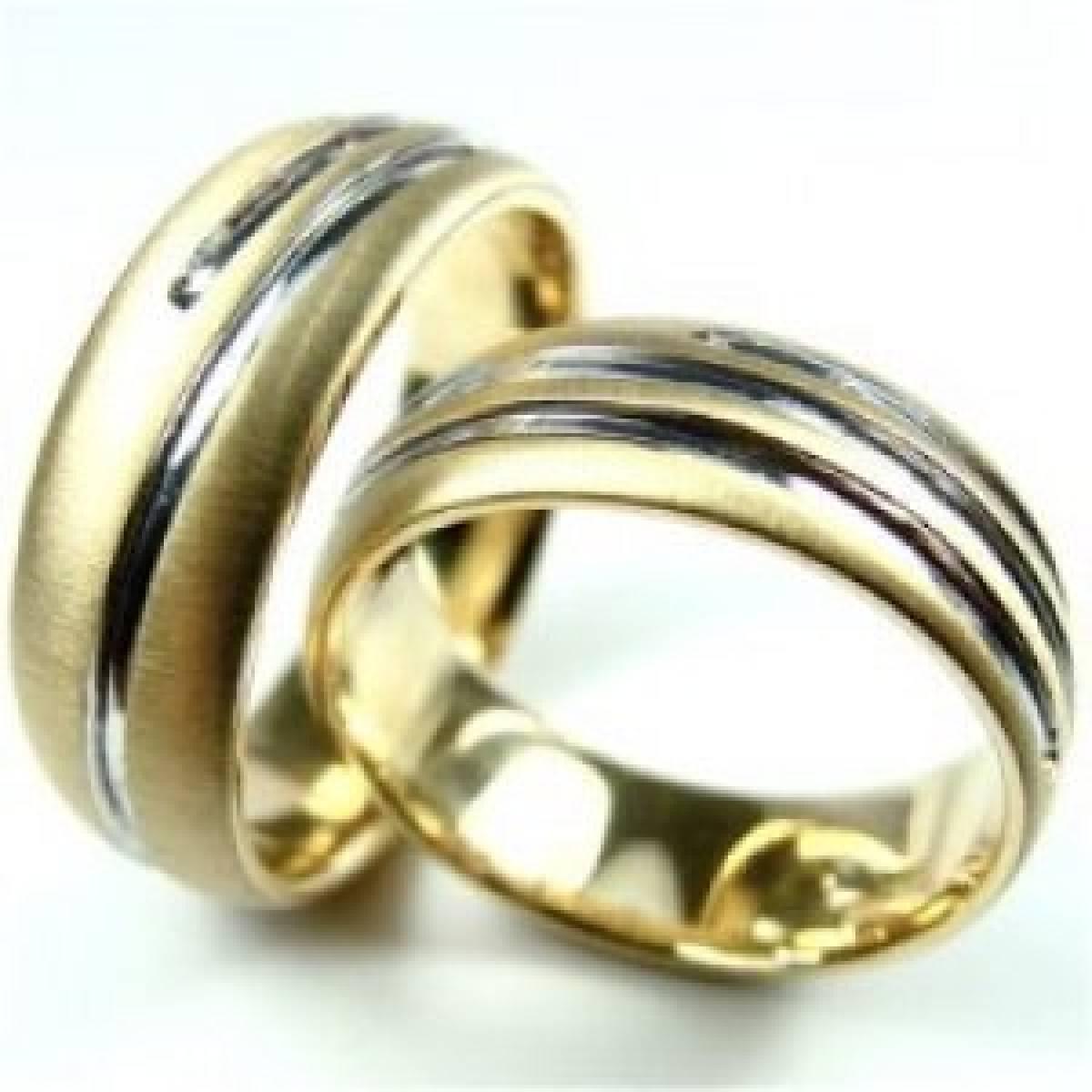 Alianças de Casamento em ouro bicolor de 9 e 19 kts