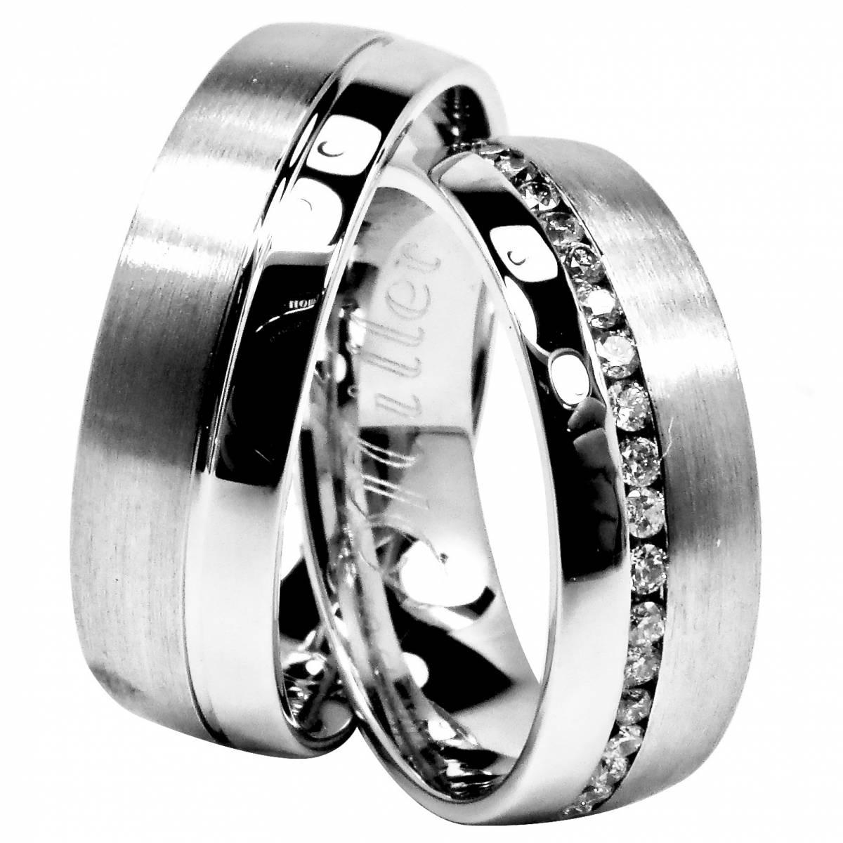 Alianças de Casamento em Ouro Branco com Diamantes ou Zircónias