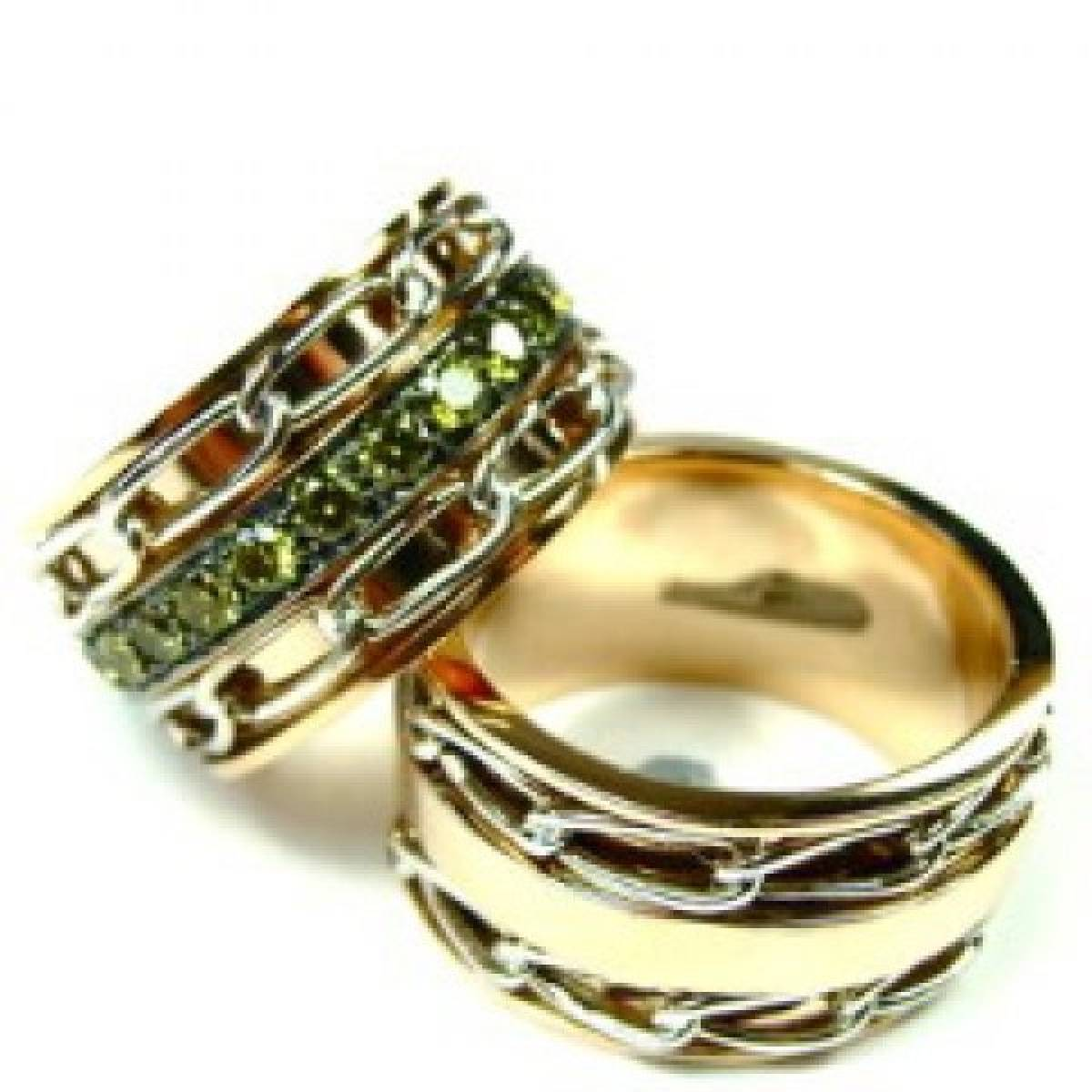 Alianças de Casamento em Ouro com Correntes Rotativas de 9 e 19Kts