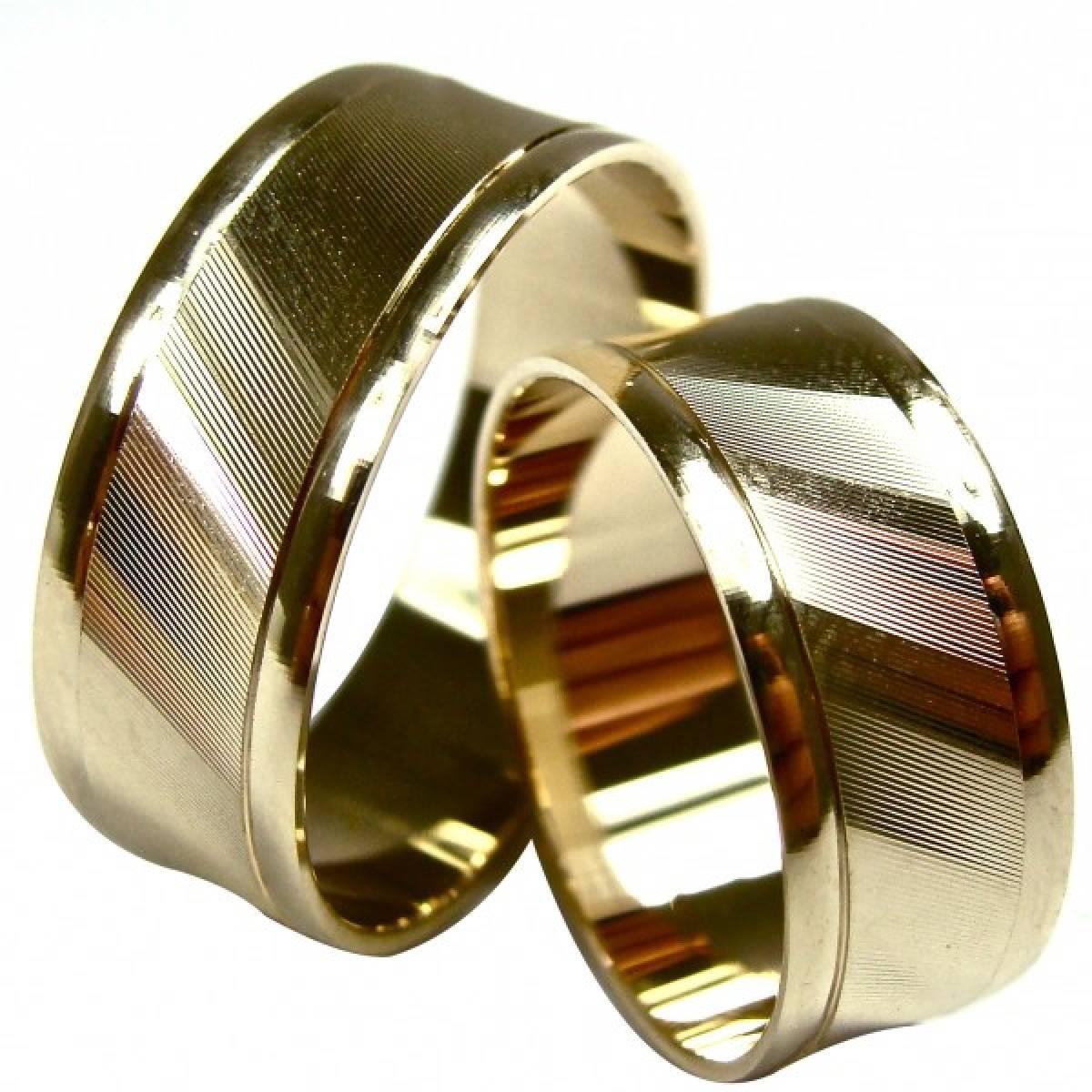 Aliança de Casamento lapidadas em Ouro Amarelo de 9 e 19,2 kts