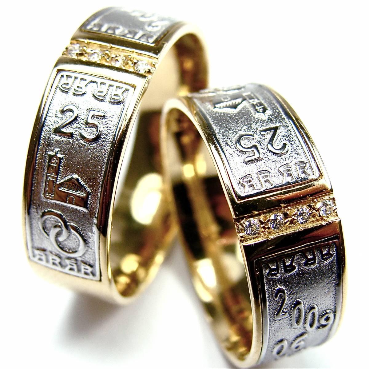Alianças de 25 Anos de Casados, em Ouro Bicolor, com 4 Diamantes