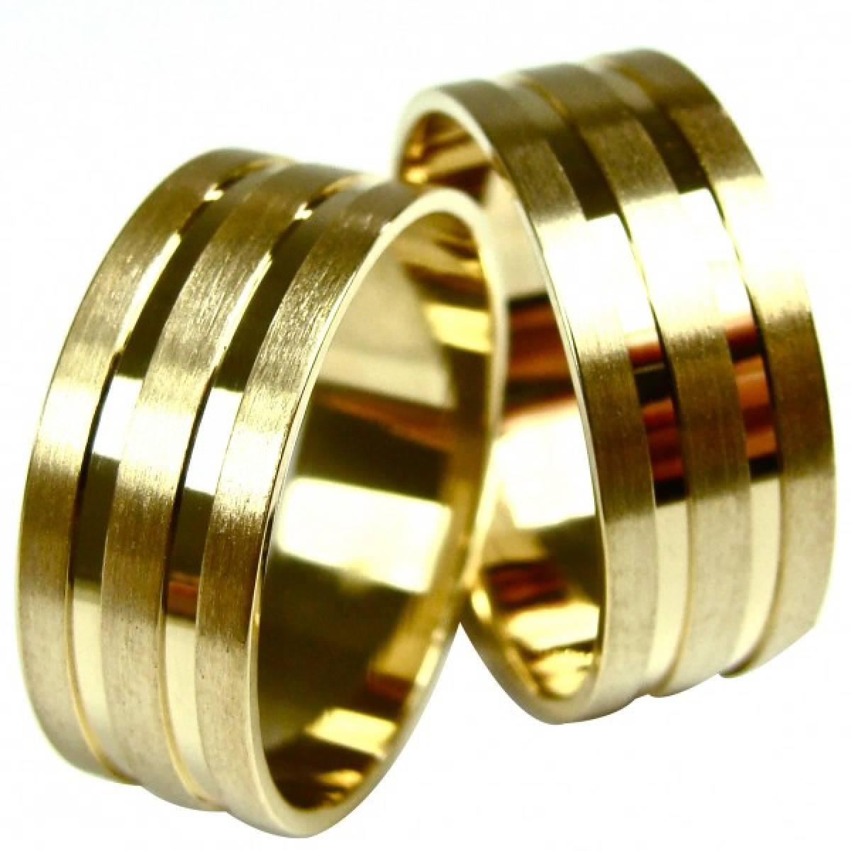 Alianças de Casamento em Ouro Amarelo Foscadas com frizo de 9 e 19Kts