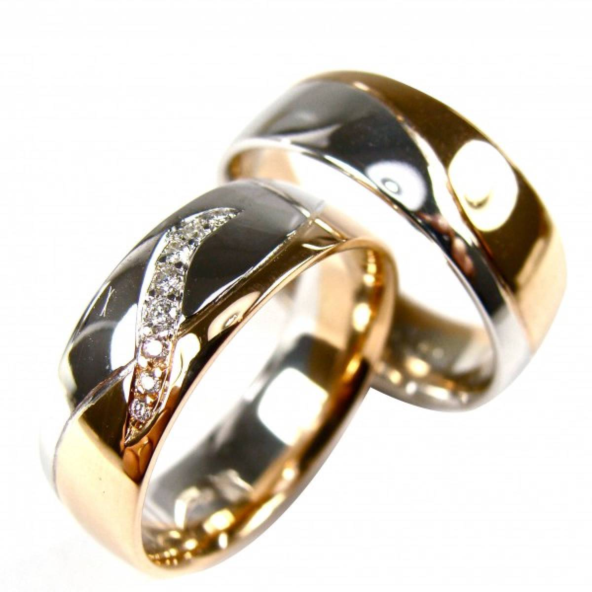 Alianças de ouro bicolor de 9 e 19,2 kts, c/diamantes ou zircónias