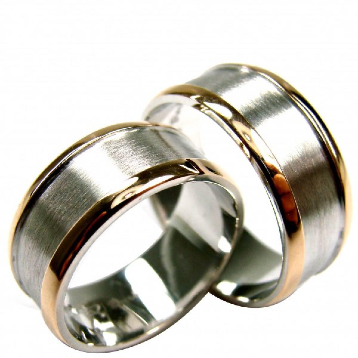 Alianças de Casamento, em ouro bicolor de 9 e 19,2 kts