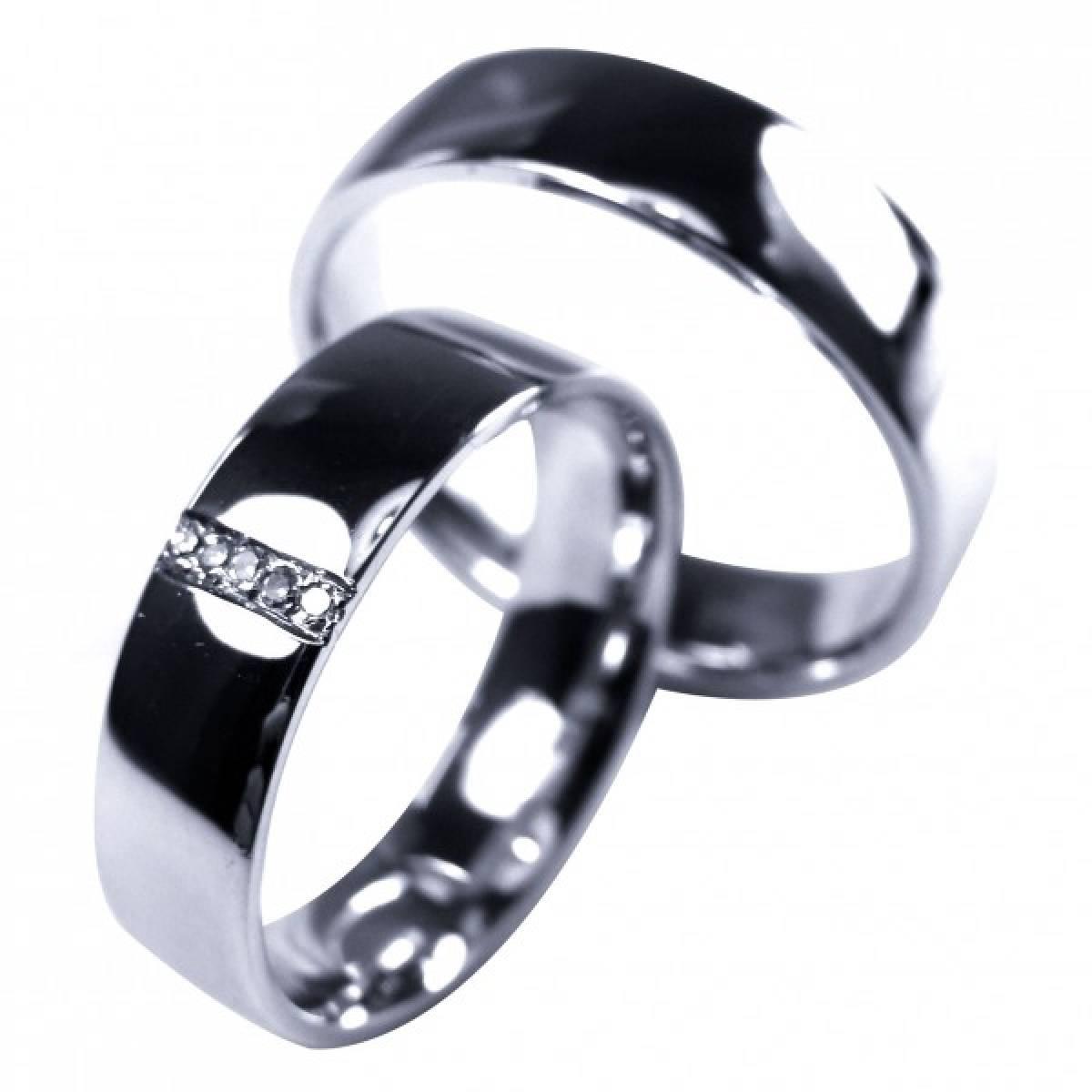 Alianças de Casamento em Ouro Branco com 5 Diamantes de 0,10 CTS