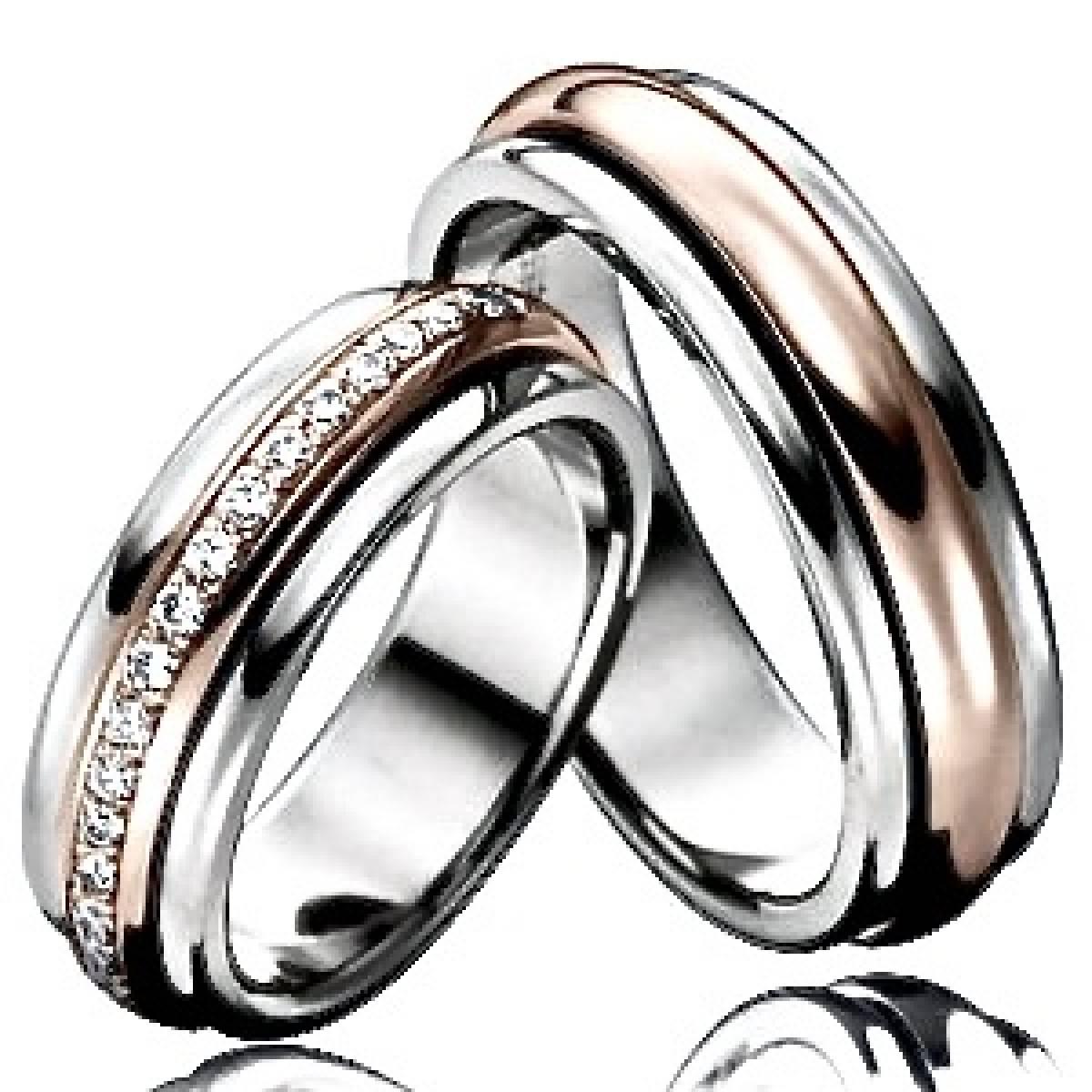 Alianças de Casamento em Ouro Bicolor de 9 e 19,2 kts, c/ Diamantes