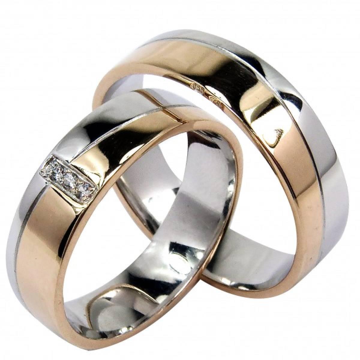 Alianças de casamento em ouro de bicolor com diamantes ou zircónias