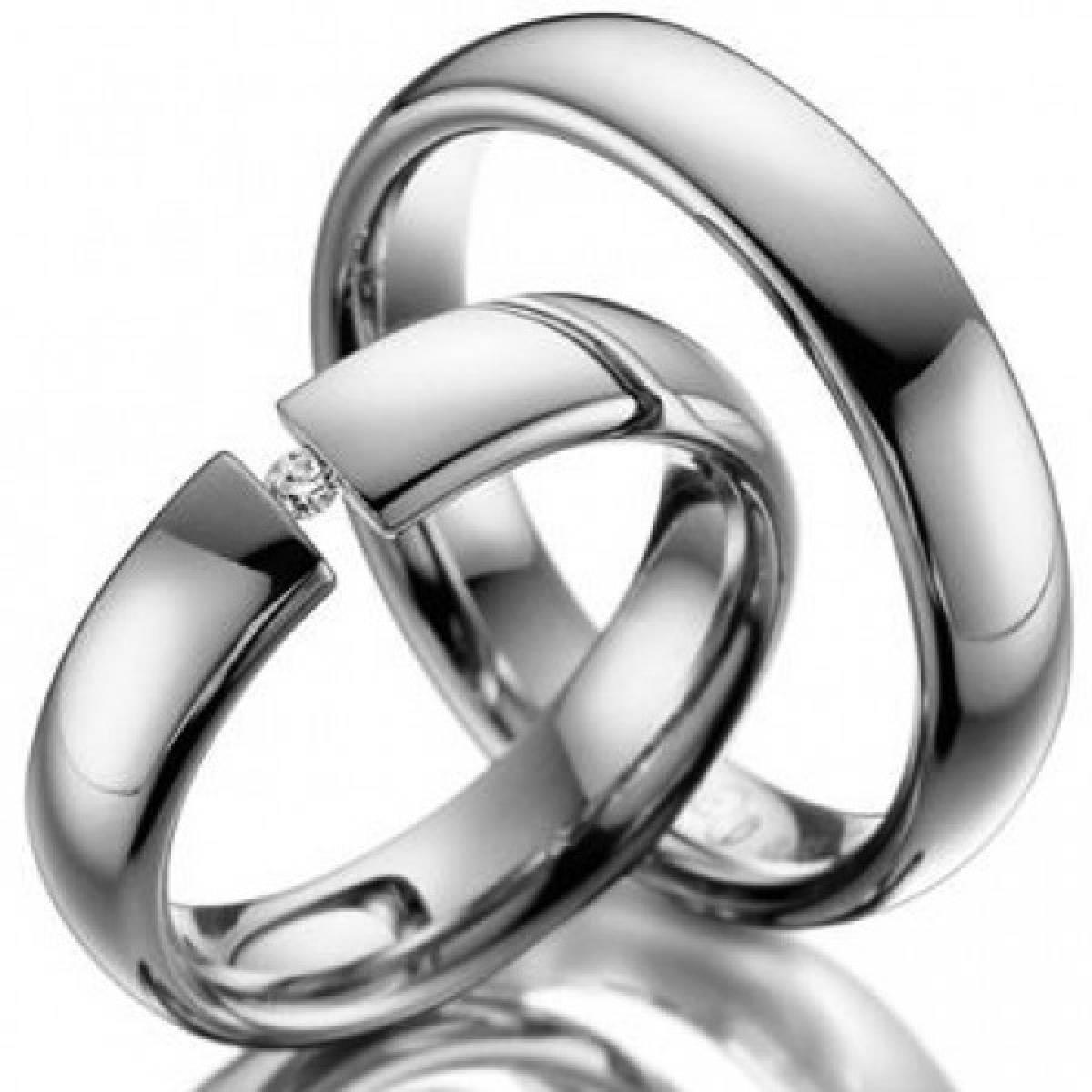 Alianças de Casamento em Ouro Branco com Diamante 1 de 0,05 CTS