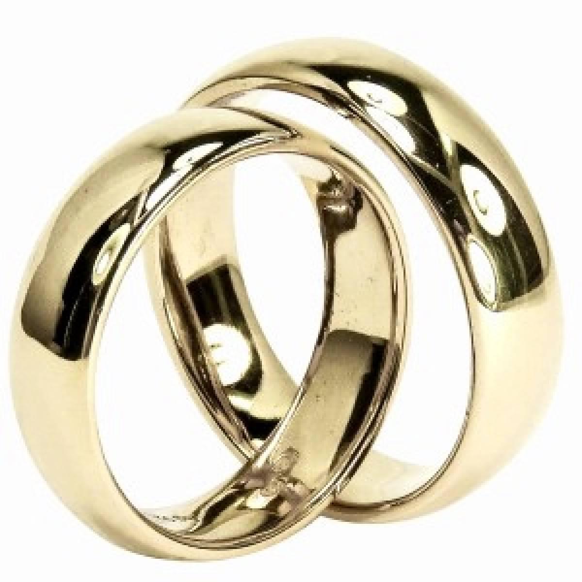 Alianças de casamento em ouro amarelo, branco e rosa de 9 e 19 kts