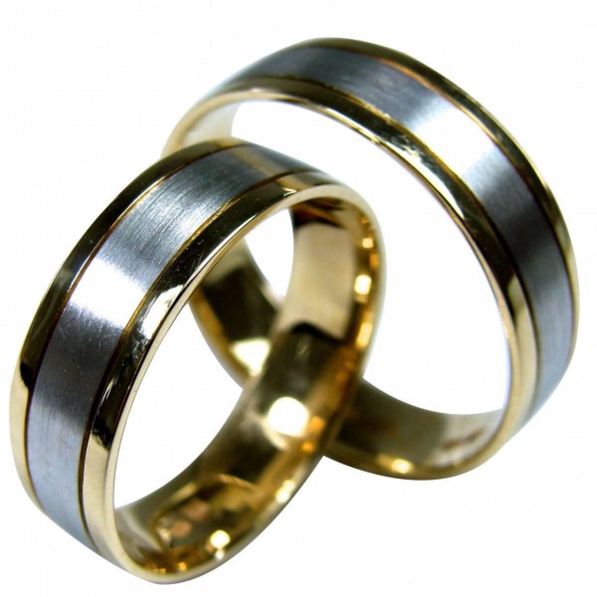 Alianças de Casamento em Ouro Bicolor de 9 e 19Kts