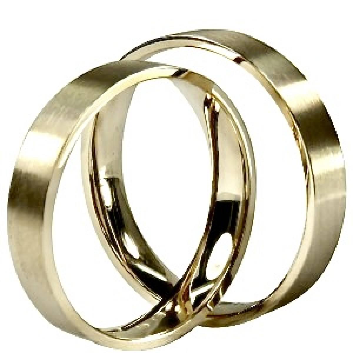 Alianças de casamento planas, foscadas, em ouro de 9 e 19,2 kts