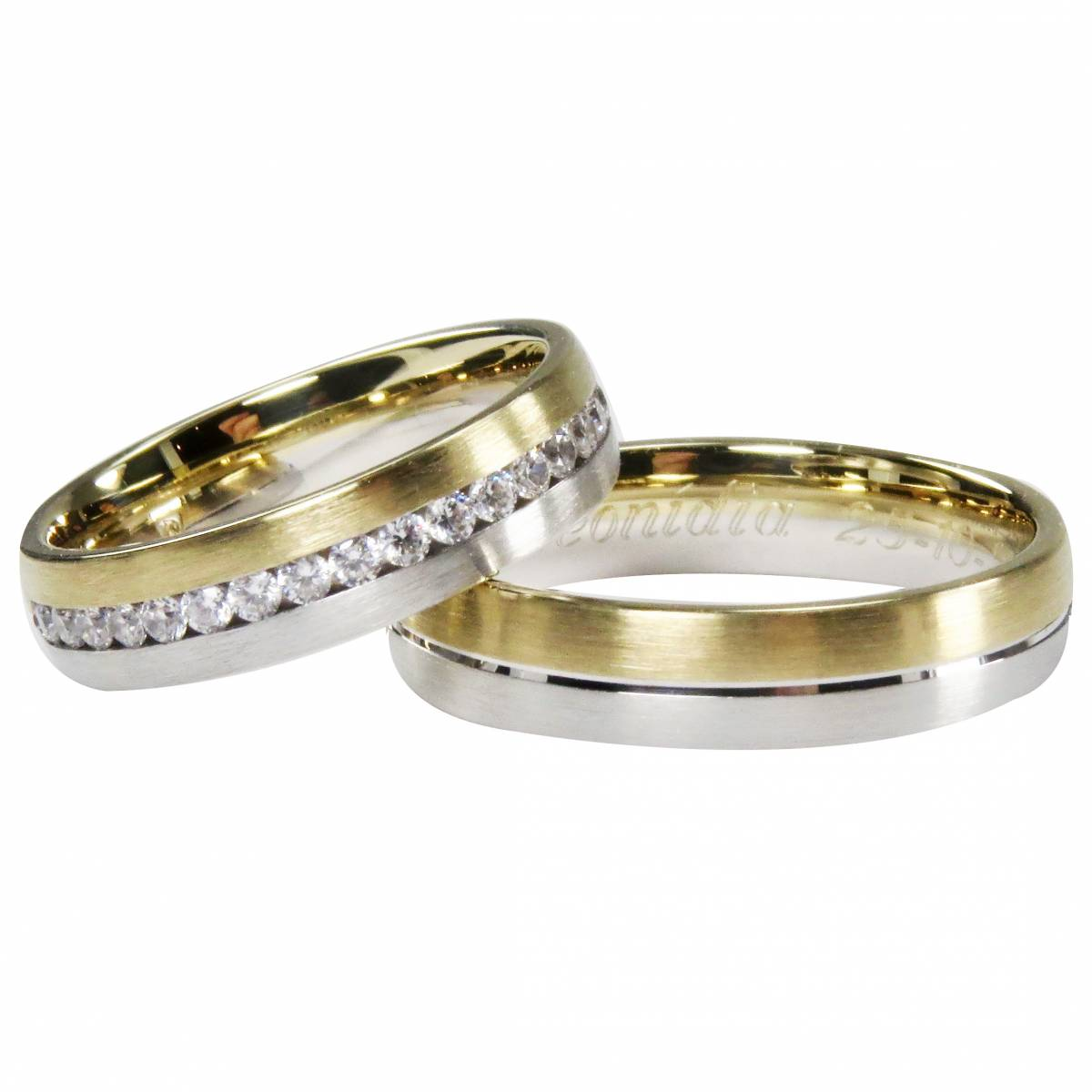 Alianças em ouro Amarelo e Branco com Diamantes ou Zircónias