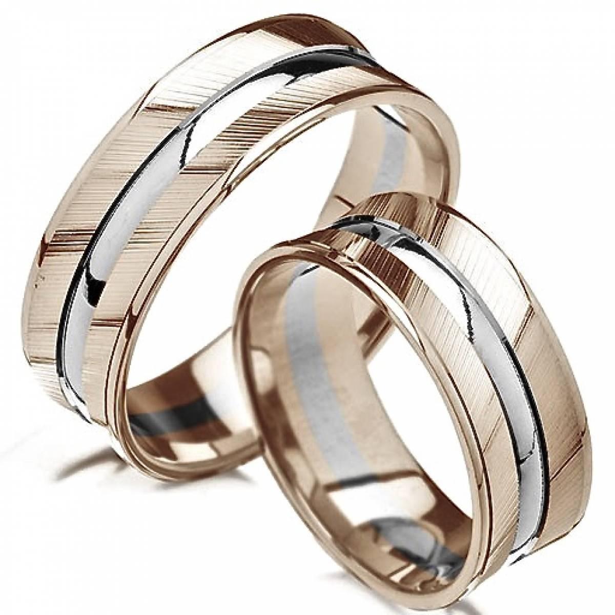 Alianças de Casamento em Ouro Bicolor de 9 e 19,2 kts Diamantes ou Zircónias