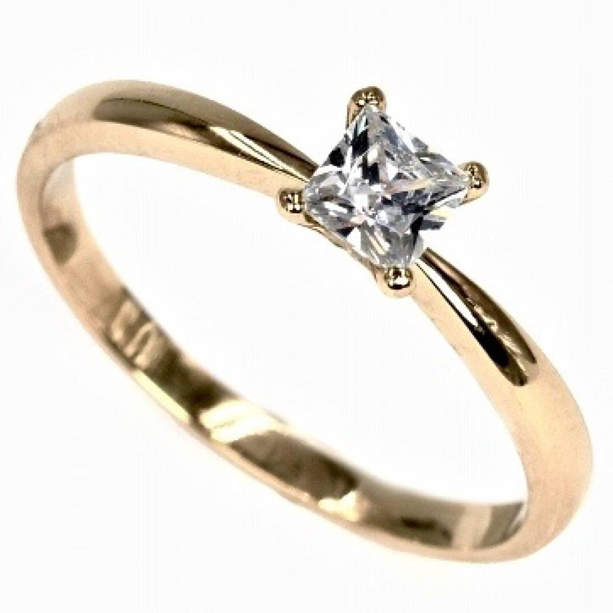 Anel de Noivado, Solitário em Ouro de 19,2, com Diamante ou Zircónia