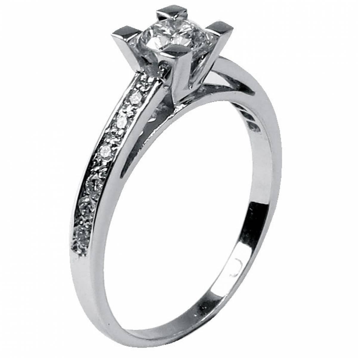 Anel de Noivado em Ouro de 19,2, com Diamantes ou Zircónias