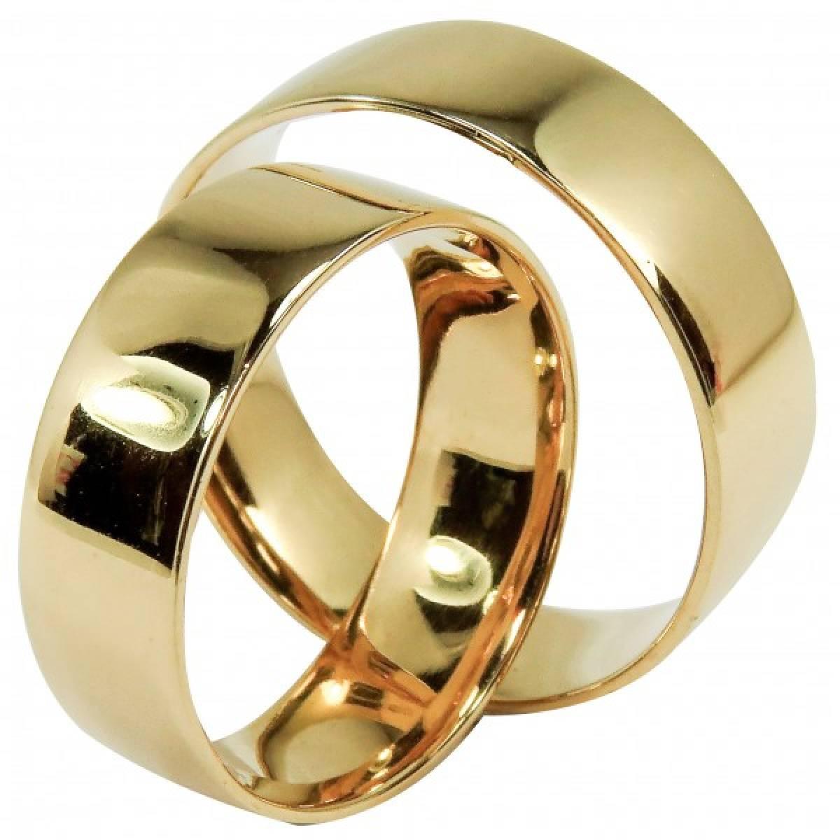 Alianças de casamento polidas em ouro amarelo de 9 e 19,2 kts