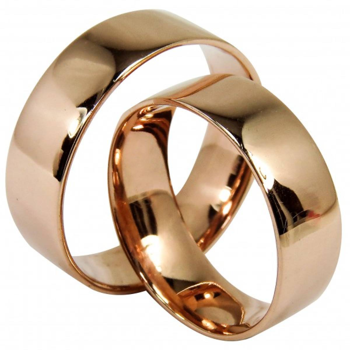 Alianças de casamento polidas em ouro amarelo ou rosa
