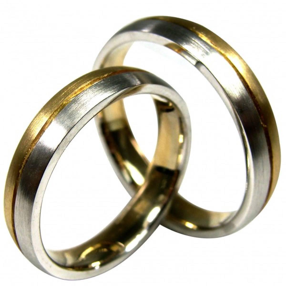 Alianças de Casamento foscadas, bicolores
