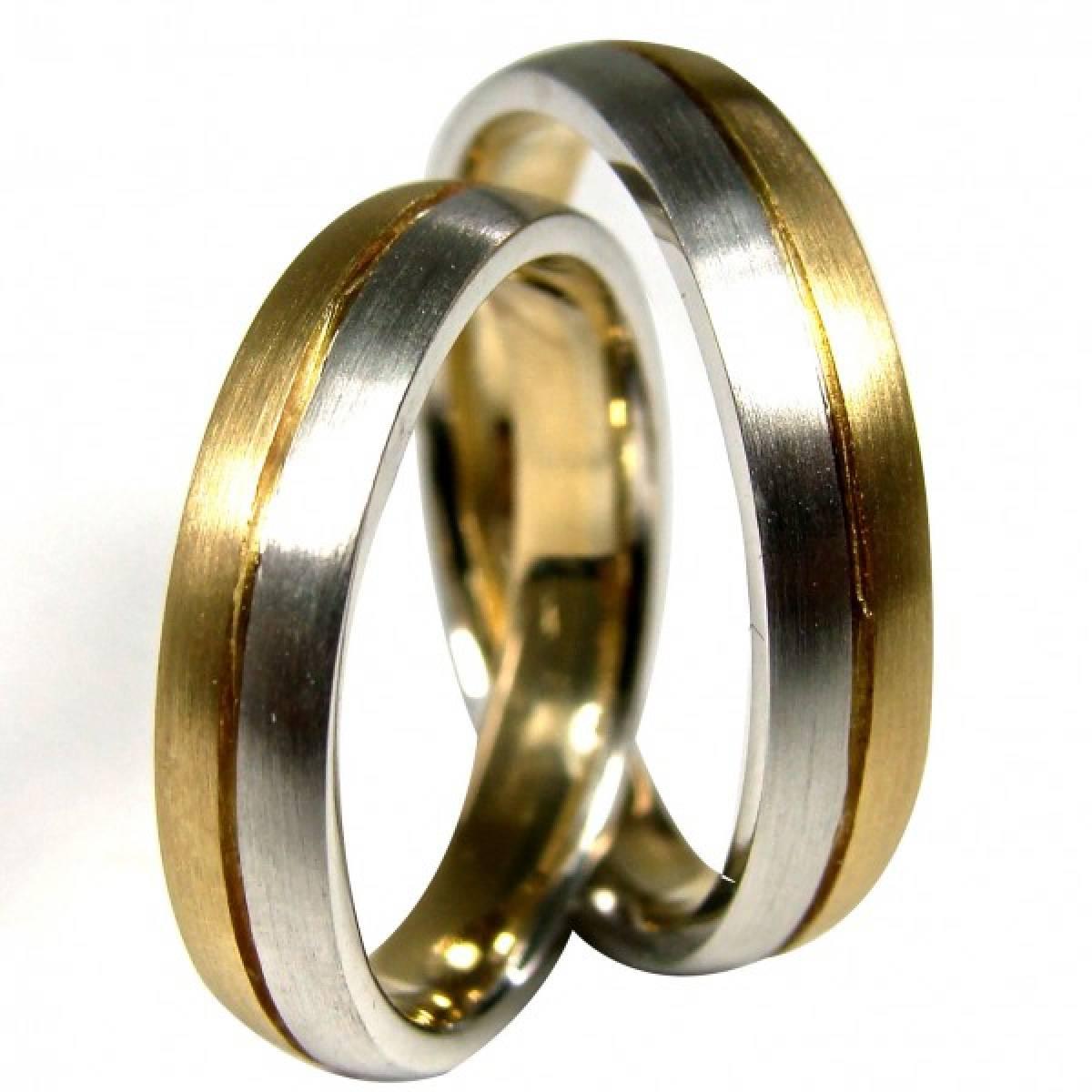 Alianças de Casamento foscadas, bicolores em ouro de 9 e 19 kts