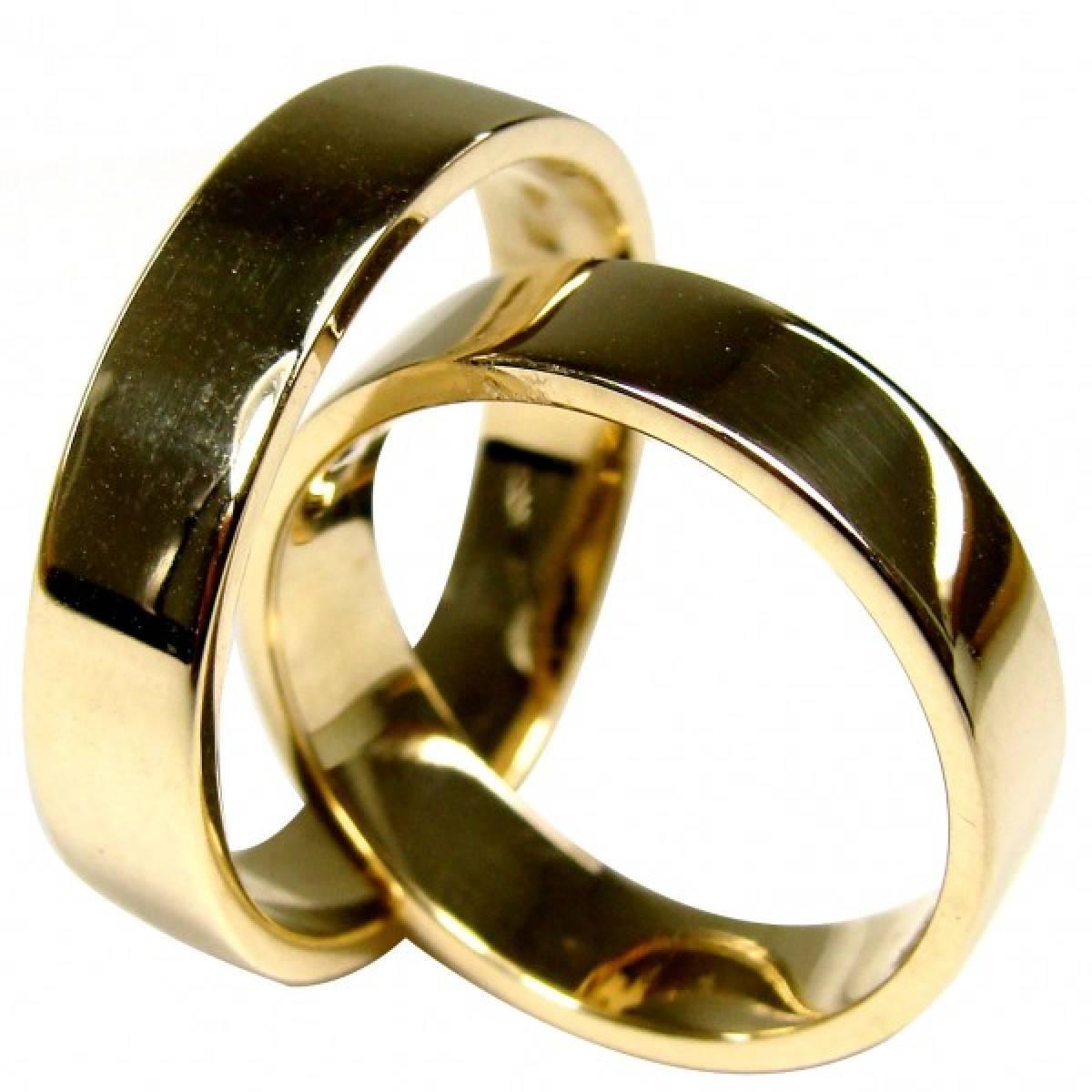 Alianças de casamento polidas em ouro amarelo