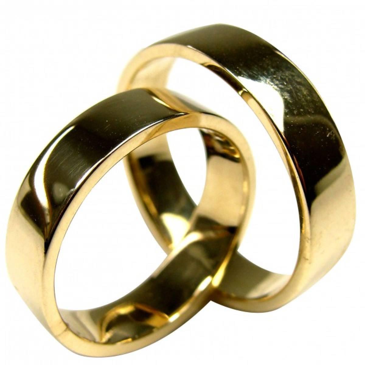 Alianças de casamento polidas em ouro amarelo de 9 e 19Kts