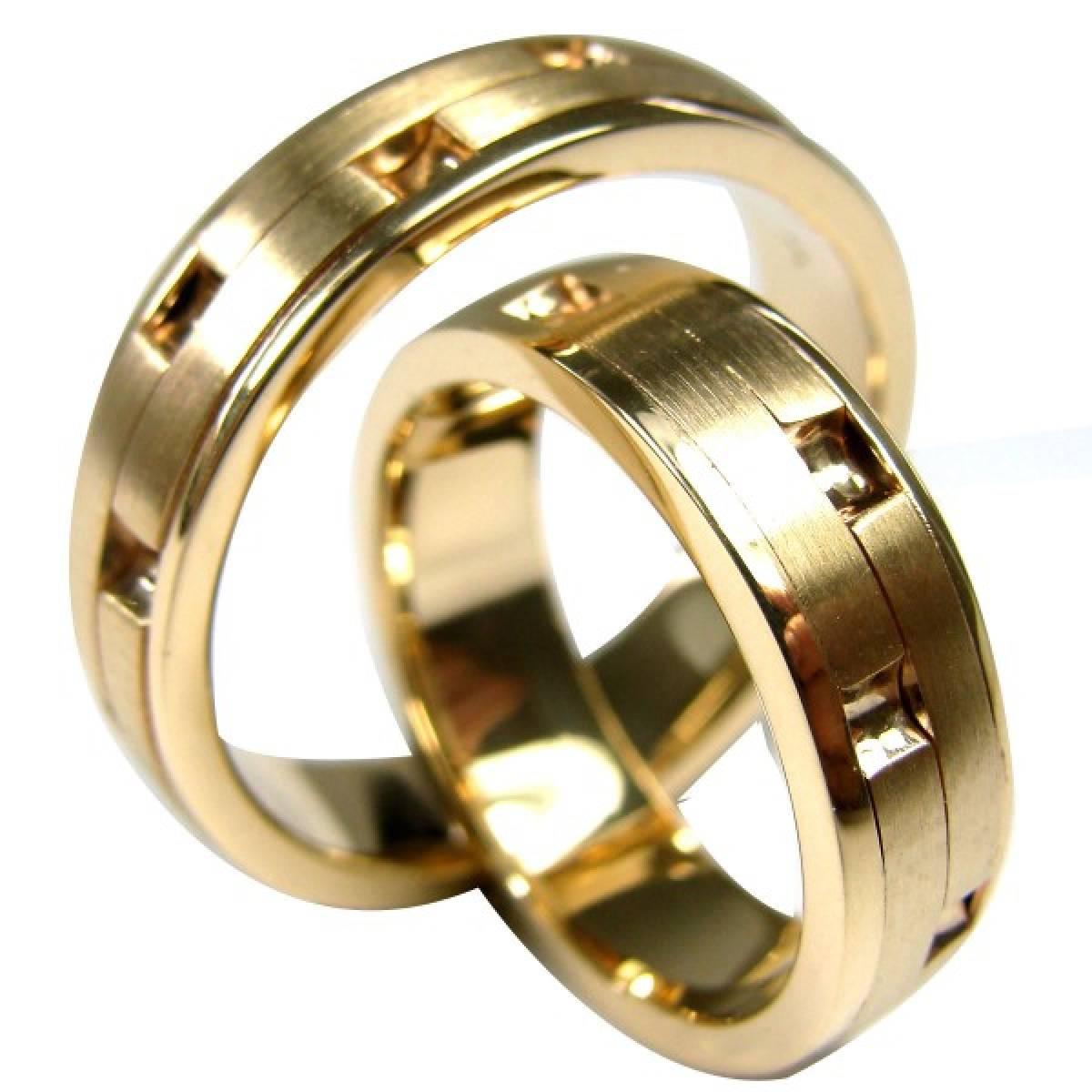 Alianças de casamento foscadas em ouro amarelo