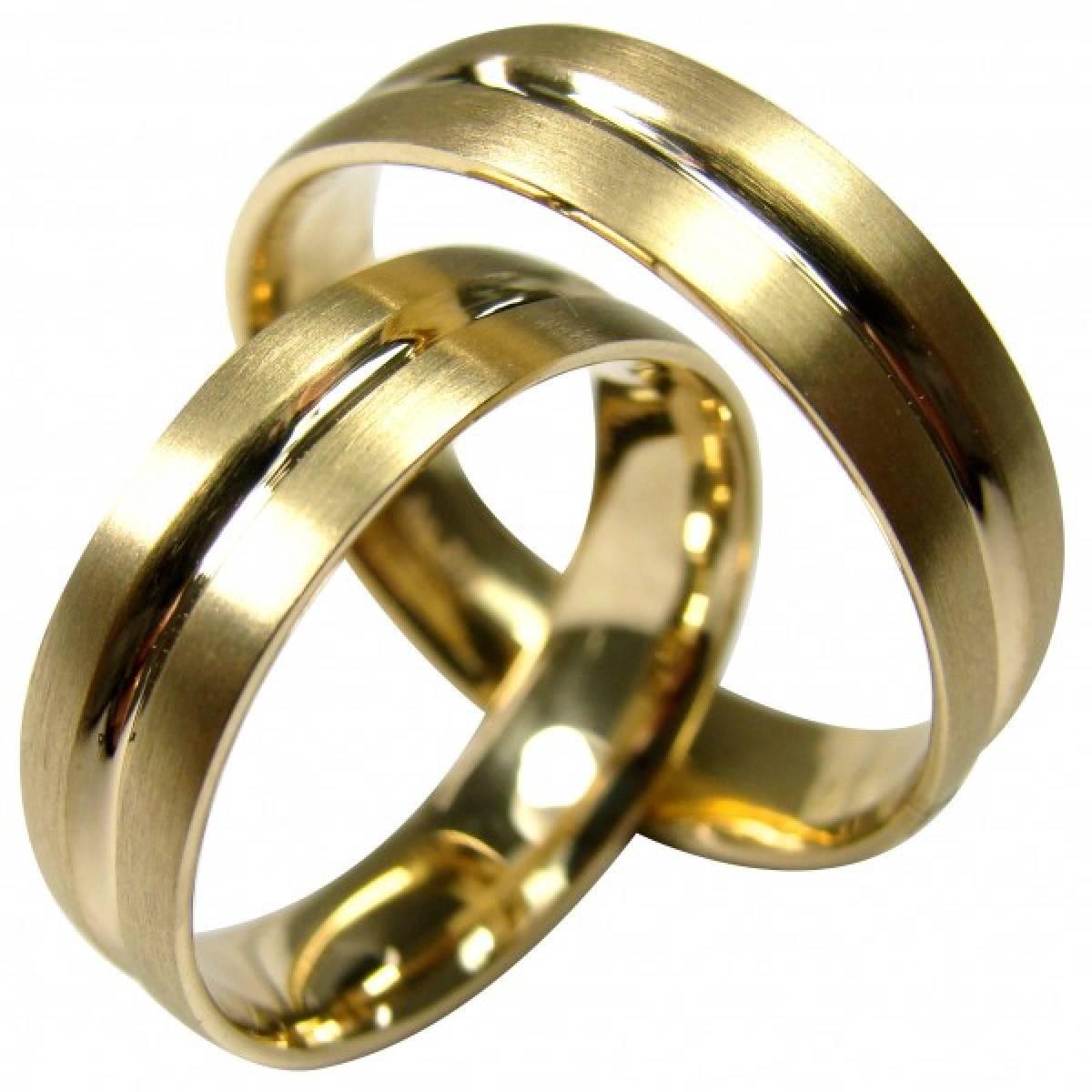 Alianças de casamento amendoadas e foscadas em ouro de 9 e 19 kts