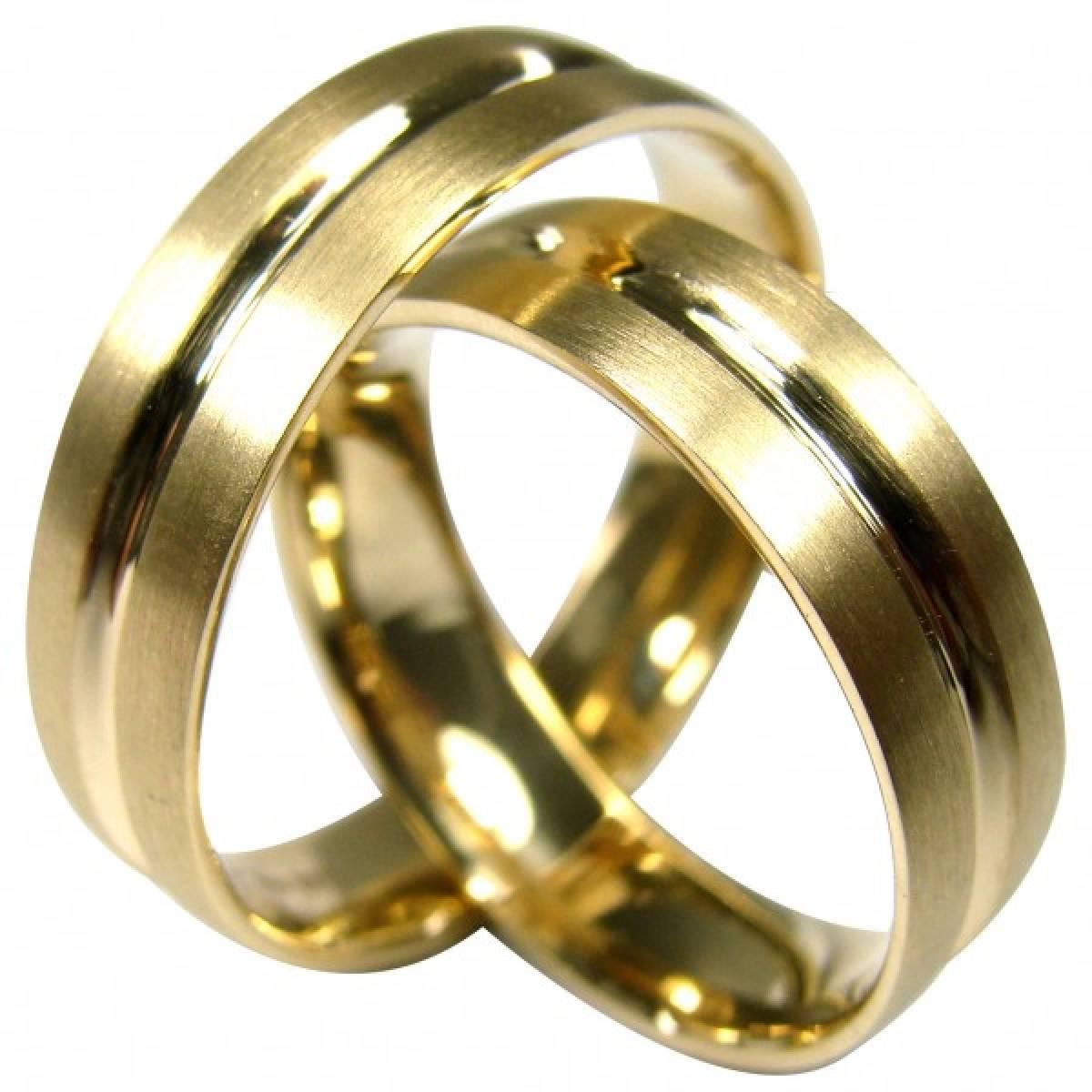 Alianças de casamento amendoadas e foscadas
