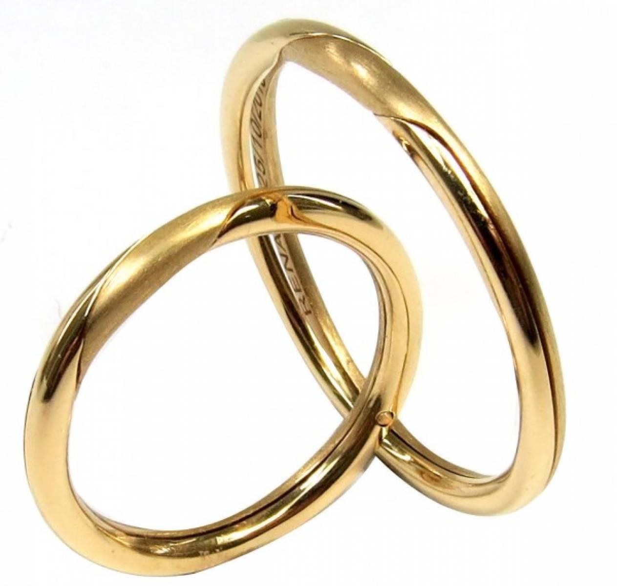 Alianças de casamento de abrir em ouro amarelo