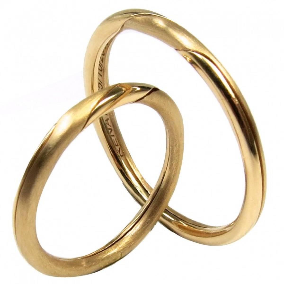 Alianças de casamento de abrir em ouro amarelo de 9 e 19 kts