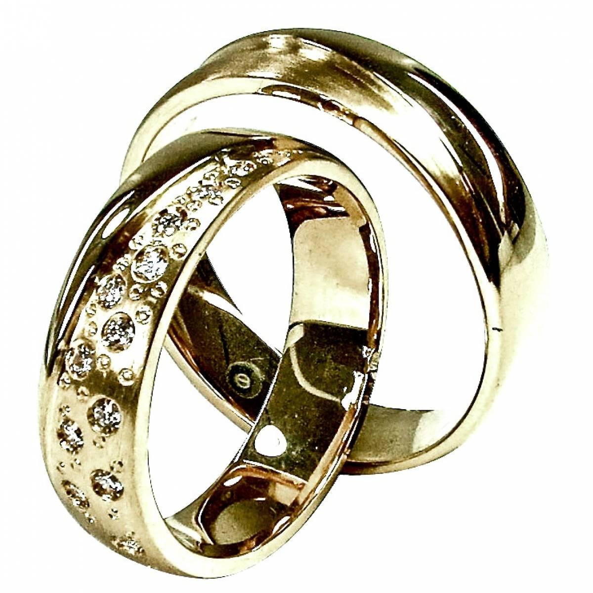 Alianças de casamento, ouro de 9 e 19 kts, com diamantes ou zircónias