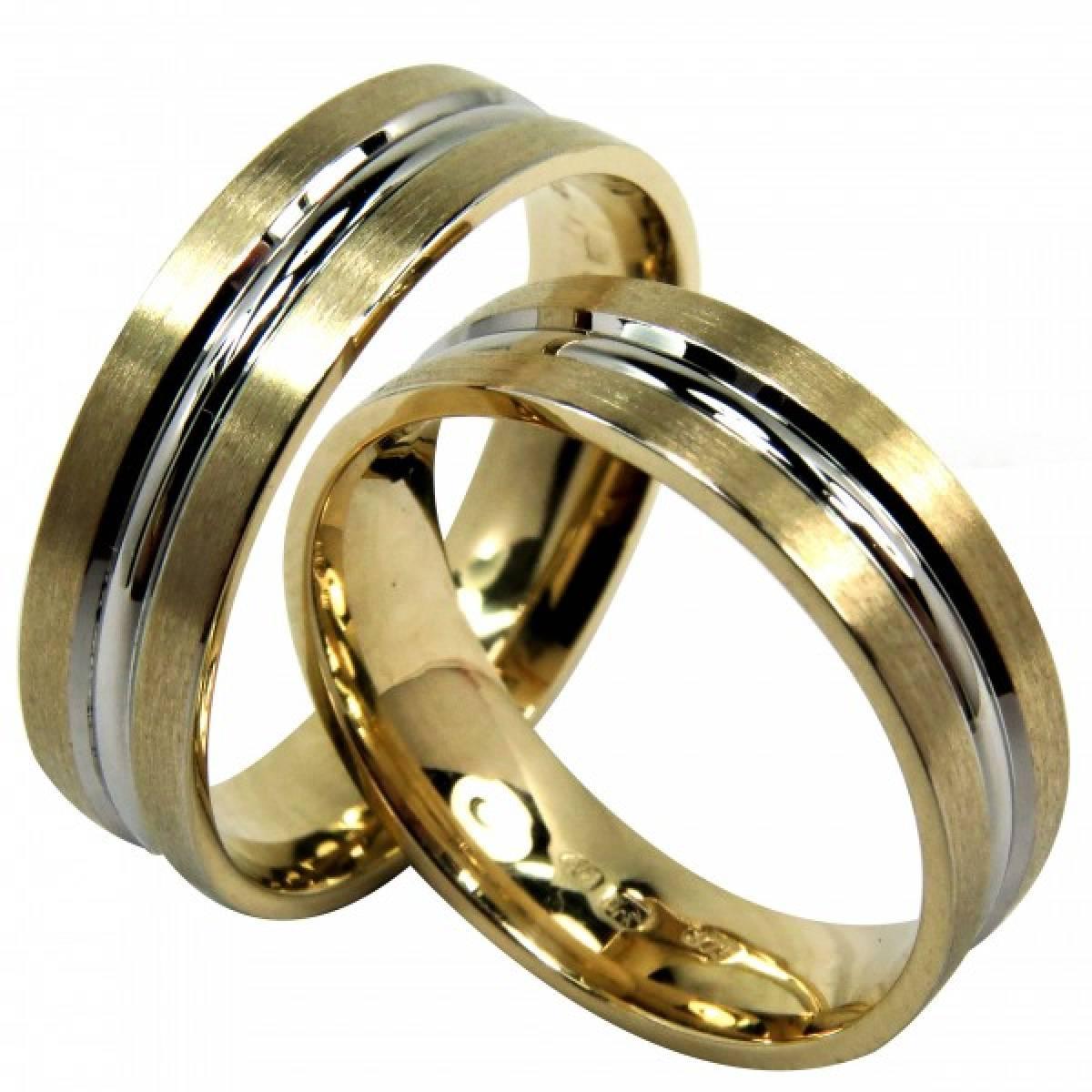 Alianças de Casamento foscadas com frizo em ouro amarelo e branco