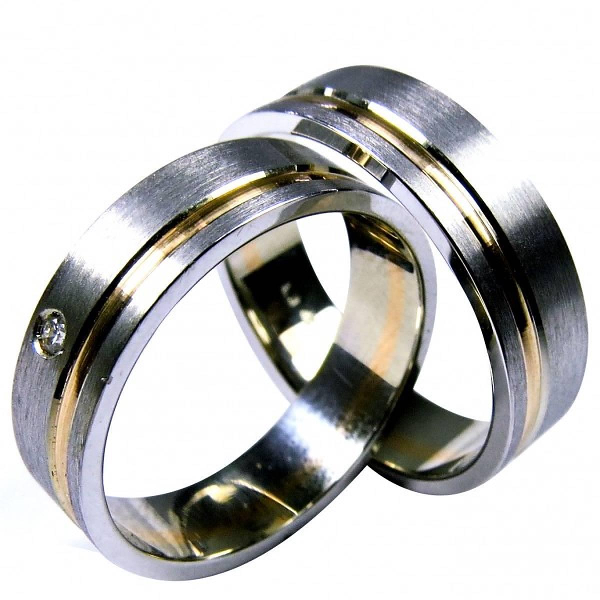 Alianças de Casamento bicolores com diamante